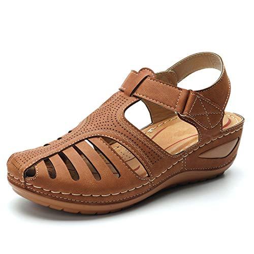 Cómodas sandalias planas con correa de cuña, zapatos planos vintage con puntera...