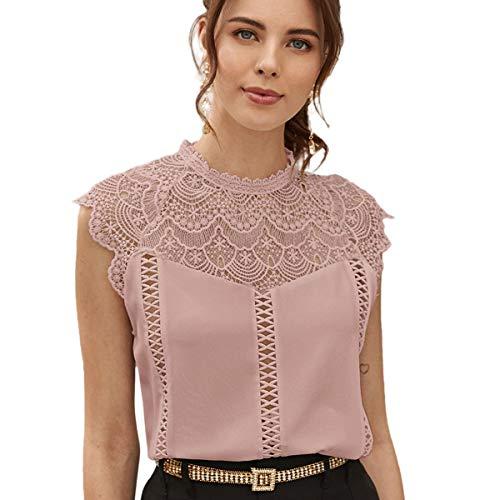SheIn Women's Elegant Cap Sleeve Keyhole Contrast Lace Blouses Tops Dusty Pink Medium