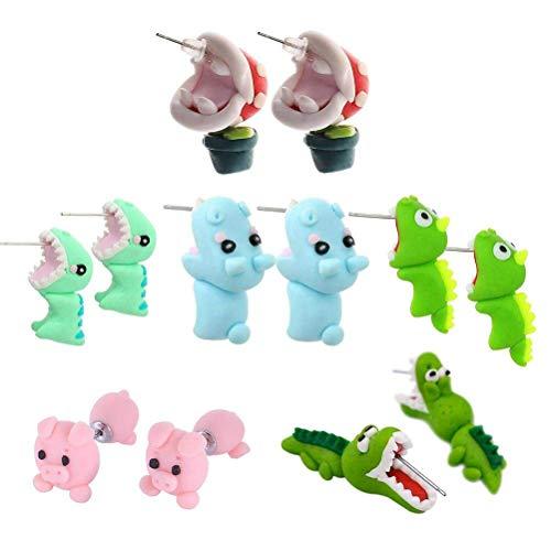 BraveWind 3D-Ohrstecker, 6Paar, weiches Material, handgefertigt, Tierdesign, für Mädchen, Frauen, grüner Wurm