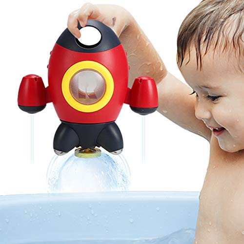 Elovien Baby Bath Toys, Space Rocket Shape Bathtub Toys for Toddlers, Spray Water Shower Toys w/ Rotating Fountain, Bath Time Toys for Infants Aged 18 Months 1 2 3 4 Years Old Kids Boys Girls