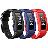 eseekgo Compatible with Fitbit Ace 2 Bands for Kids 6+, 3-Pack Colorful Silicone Rubber Adjustable Replacement Sport Swim-Friendly Bands for Girls Boys, Black+Navy+Red
