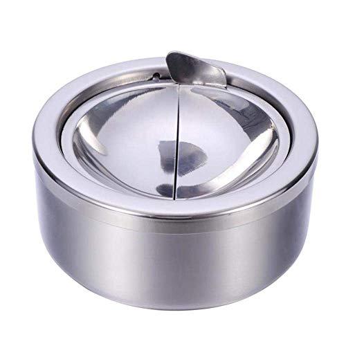 KANJJ-YU Cenicero redondo a prueba de viento de acero inoxidable cenicero de mesa cenicero de escritorio para fumadores