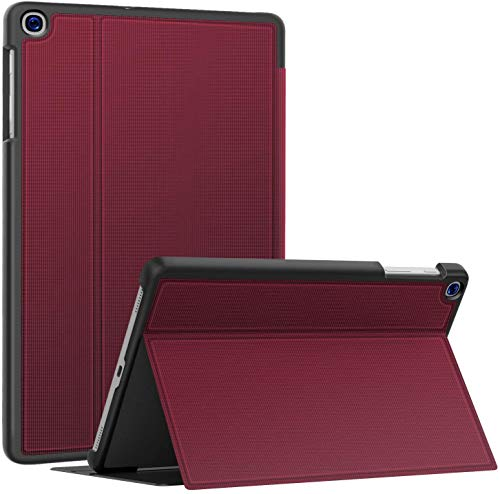 Soke Hülle für Samsung Galaxy Tab A 10.1 2019 (SM-T510/T515), Folio Ständer Superdünn TPU Leder Smart Schutzhülle für Galaxy Tab A Hülle 10.1 Zoll, Wein