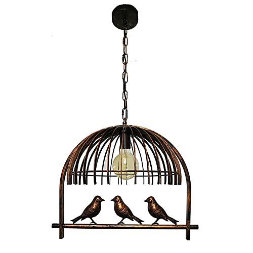 QWQW Candelabro Blanco Adornado Birdcage Candelabro Lámpara Colgante de Techo Hierro Candelabro de Tres pájaros Lámpara Americana Iluminación para cafetería Bar Comedor Escaleras