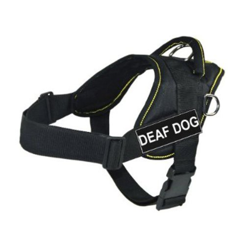 DT Fun Works Harness, Deaf Dog, Black With Yellow Trim, Medium - Fits Girth Size: 28-Inch to 34-Inch