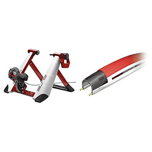 Elite, Novo Force - Rullo per allenamento & Coperton, Rullo allenamento pneumatici, 23 - 622 (700 x 23 C), Rosso (rot/weiß)
