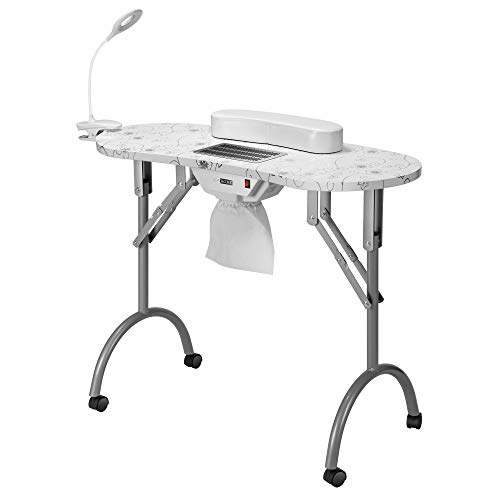 VIVOHOME Portable Manicure Nail Table on Wheels with Built-in Dust Collector, USB-plug LED Table Lamp, Carry Bag for Home Spa Beauty Salon Workstation