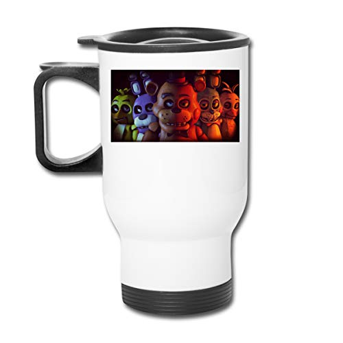 FNAF Five Nights at Freddy's - Taza de café de doble pared con tapa a prueba de salpicaduras para bebidas frías y calientes