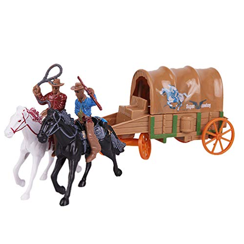 NUOBESTY 1 juego de carruaje de vaquero modelo de juguete de cowboy, colección de juguetes, carruaje artesanal, adorno de vaquero occidental