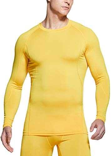 TSLA Men's Long Sleeve T-Shirt Baselayer Cool Dry Compression Top, Active(mud31) - Yellow, Large