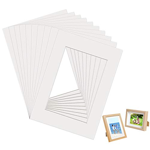 DECARETA 10 Blätter Passepartout Rahmen, 29,7x21cm (DIN A4) Paspertout Karton Weiß für Bilder im Format 14,5x20 cm