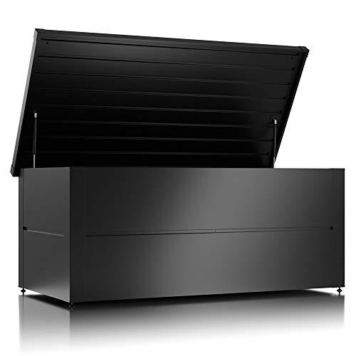 ILESTO Aufbewahrungsbox aus Stahl, Ben (692L): Auflagenbox wasserdicht XL | Kissenbox für Ihren Garten 165x85x69cm | Stauraum für den Außenbereich | Anthrazit