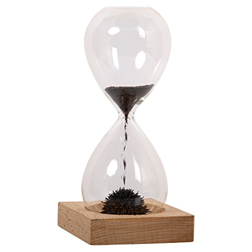 Truu Design Wood Base Hourglass, 2.5 x 6 inches, Beige 1-Minute Magnetic Hour Glass, 2.5' x 6'