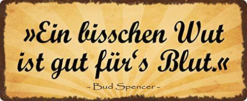 Blechschild 27x10cm gewölbt EIN bisschen Wut Zitat Bud Spencer Deko Schild