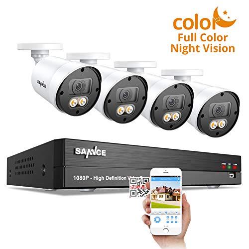 SANNCE Vollfarbige Nachtsicht Überwachungskamera Set 8CH 1080P mit, 5-in-1 1080P H.264 DVR und 4 * 1080P HD-Überwachungskameras für den Innen- und Außenbereich