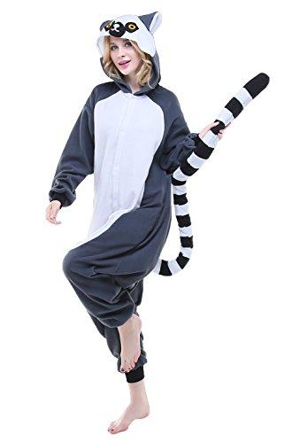 CANASOUR Halloween Custume Adult Onesie Party Unisex Women's Onesie Costume (Large, Lemur)