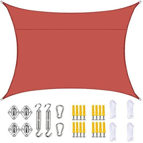YLSS Parasol De Vela Rectangular De 3,6 M X 3,6 M con Kit De Fijación Toldo Oxford Duradero Impermeable Al Aire Libre Fácil De Instalar para Patio Jardín Piscina con Cuerda Libre,Dark Red
