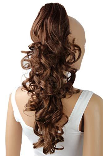 PRETTYSHOP 50cm Haarteil Zopf Pferdeschwanz Haarverlängerung Voluminös Gewellt Braun Mix H57