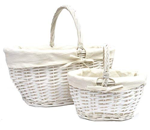topfurnishing Starkes Weiß Oval Flechtweide Osterei Shopping Picknick Geschenkkorb Korb Weißer Griff - Weiß, Set mit 2 (S & I)
