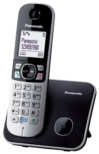 Panasonic KX-TG6811JTB Telefono Cordless DECT, Schermo LCD da 1,8', Base Design Sottile e Compatto, Nero