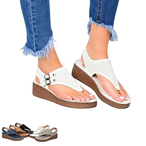 MQDL Wedge Sandals for Women Open Toe Platform Flip Flop Sandals, Split Toe Shoes Womens Summer Sandals Casual Comfortable Flip Flops Beach Shoes (White, 39)