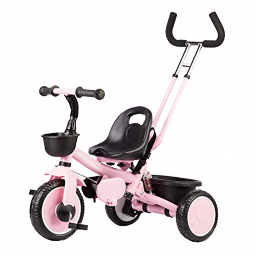 Best Deals! XIAOYANG Baby Stroller Portable Child Bike 1-3-6 Years Old Tricycle with Putter Portable Seat Folding Pedal Children Gift (Color : Pink)