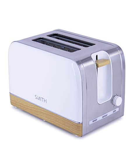 Smith-Style Premium Toaster Slice Chrome & Wooden Effect Decoration with Wide Slots & Slide Out Crumb Tray - 6 Browning Settings, Centre Function, Defrost, Reheat & Stop - White/Silver