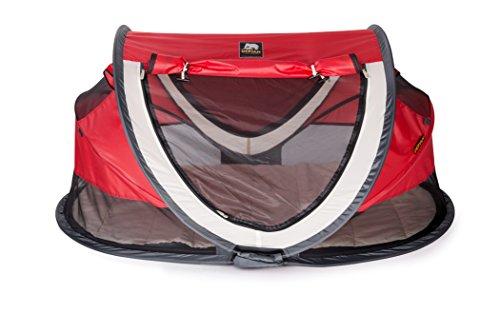Deryan Reisebett/Travel-cot Peuter Reisebettzelt inklusive Zelt + selbstaufblasende Matratze + Baumwollbezug mit Reißverschluss mit Pop-Up innerhalb 2 Sekunden aufgebaut, Luxe red