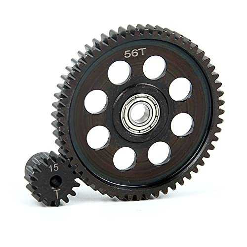 LCX Racing 1/10th RC Crawler Car Hardened Steel 32P 56T Spur Gear w/ 15T Pinion Gear for Axial SCX10 II 90046 RR10 Bomber,Upgrades Parts Accessories