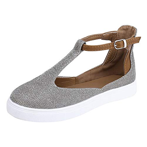 vermers Deals Women Vintage Out Shoes - Round Toe Platform Flat Heel Buckle Strap Casual Shoes(US:8, Gray)