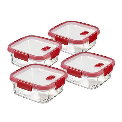 Curver Cook Recipiente hermético, Transparente/Rojo, 0.7 L, 4 Unidades