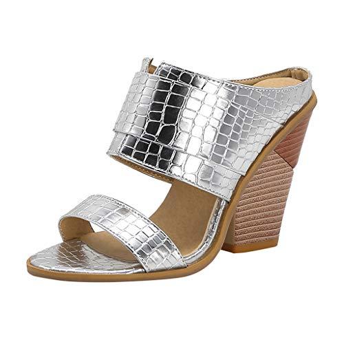 Dasongff Peep-Toe Sommer Stiefeletten Hausschuhe Party Hohl Stiefel Elegant Römer Stilvoll Absatzschuhe Hoch Dicker Schuhsole Sandalen Sommerschuhe