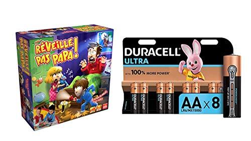 Goliath 70582 - Réveille Pas Papa - Jeu d'enfants avec Duracell MX1500 - Ultra Power Piles Alcalines Type AA, Lot de 8 Piles
