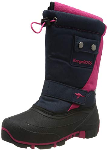 KangaROOS Kanga-Bean II Unisex-Kinder Stiefel, Blau (Dark Navy/Daisy Pink 4204), 34 EU