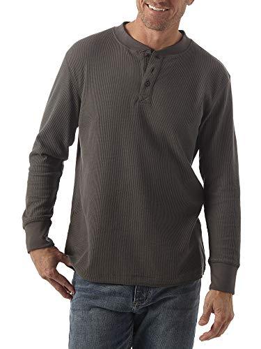 Wrangler mens Long Sleeve Waffle Henley Shirt, Dark Charcoal, X-Large US