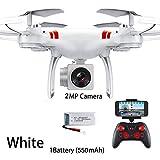DEAR-JY Drones WiFi FPV portátiles,Drone Quadcopter RC Profesional de 2.4Ghz Plegable con cámara HD en Tiempo Real,Altitud Mantenga una tecla Regreso Apagado Drone de Control Remoto,Blanco,0.3MP