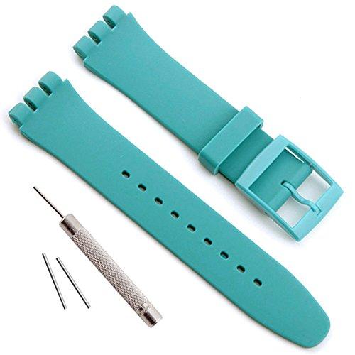 Impermeabile in Gomma Siliconica Orologio da Polso Cinturino per Swatch (17mm 19mm 20mm) (20mm, Cyan)
