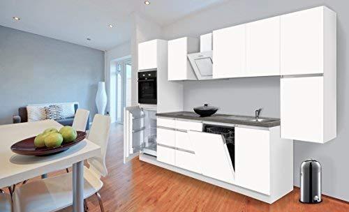 respekta Premium grifflose Küchenzeile Küche Küchenblock 330 cm Weiss Matt inkl. Induktionskochfeld