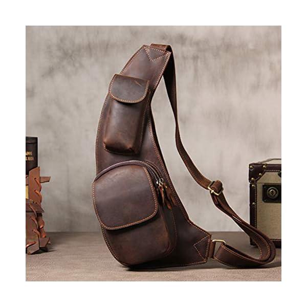 41dL0hWtm+L. SS600  - Leathario Mochila de Pecho Cruzado Cuero Bolso Hombro Bandolera Piel Vintage Grande para Hombres Casual Escolar Viaje