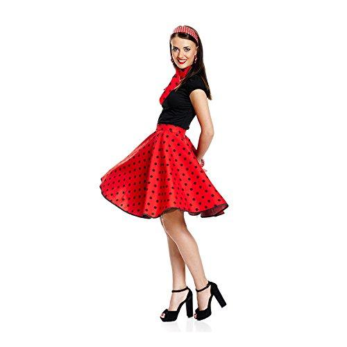 Kostümplanet® 50er Jahre Rock-n Roll Rock Damen Kostüm Rockabilly Stil Mode Outfit rot schwarz Gepunkteter Tellerrock Polka-dot Knielang mit Halstuch