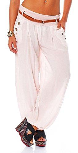 Malito Bombacho en el Chino-Look Boyfriend Aladin Harem Pantalón Sudadera Baggy Yoga 6019 Mujer Talla Única (Rosa)