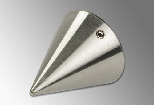 Liedeco eindstuk, eindknop kegel voor gordijnroede, buizen 28 mm ø | roestvrijstalen look | 1 stuk