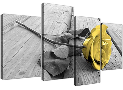 Yellow Grey Rose Flower Black White Floral Canvas WhiteValentine'sDay Decor 51 Inches Wide,4 Panel
