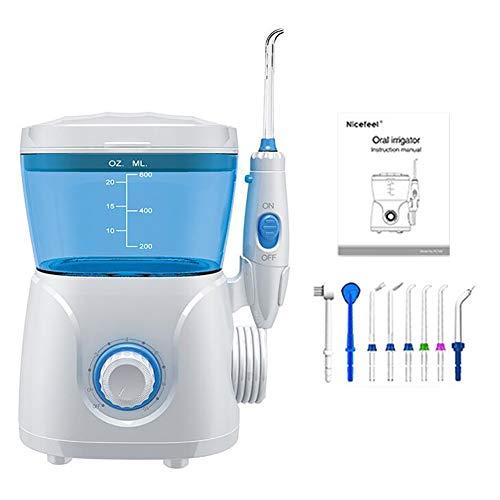 D&M Munddusche Professionelle Wasser Flosser 8 Düsen mit Großem 600 ml Wassertank 10 stufige-Druckregler Pulszahl 1250-1700 mal/Minute
