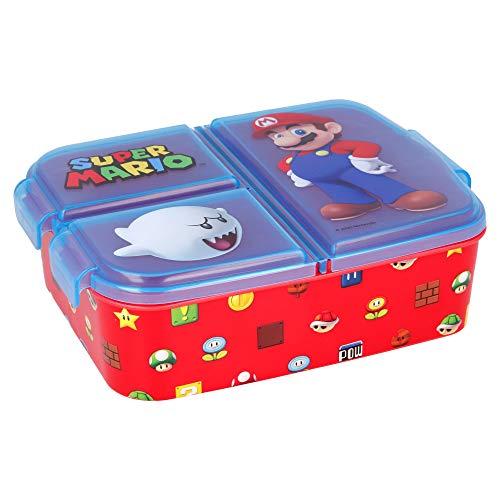 Super Mario | Sandwichera con 3 Compartimentos para niños - lonchera Infantil - Porta merienda - Fiambrera Decorada