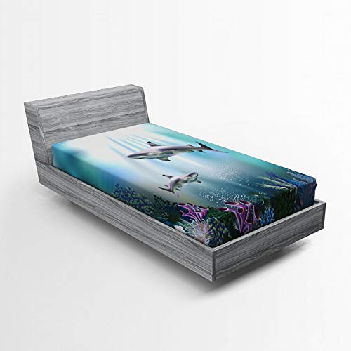 Ambesonne Underwater Fitted Sheet, Realistic Illustration Wild Sharks and Plants Corals Seaweed Aquatic Ocean Life, Soft Decorative Fabric Bedding All-Round Elastic Pocket, Twin Size, Blue Purple