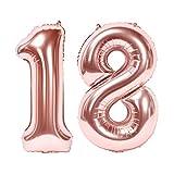Siumir Globos de Número Número 18 Oro Rosa Globos Digital Grande Papel De Aluminio Globos Decoración de Fiestas de Cumpleaños