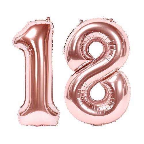 Siumir Numéro Ballons Or Rose Ballons Chiffre Numéro 18 Géant Feuille Ballons Fête d'anniversaire Ans Anniversaire Décoration