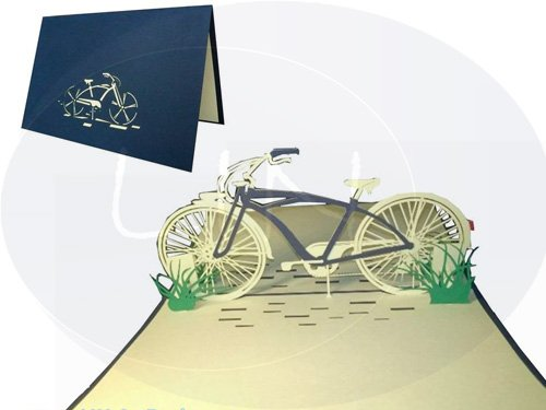 POP UP 3D Karte Geburtstagskarte Gutschein Fahrrad Venlo blau (#154)