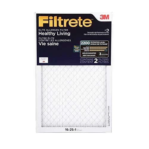 Filtrete - EA01-2PK-6E MPR 2200 16x25x1 AC Furnace Air Filter, Healthy Living Elite Allergen, 2-Pack
